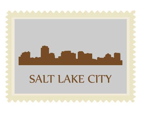 salt lake city: Salt Lake City high-rise buildings skyline stamp Illustration