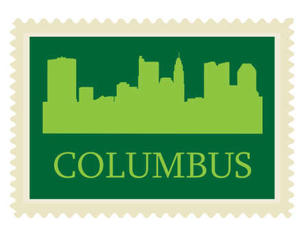 Columbus high-rise buildings skyline stamp Illustration