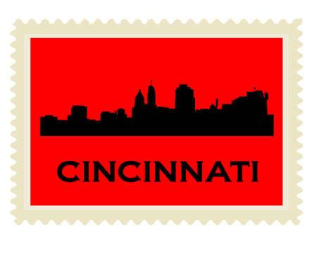 Cincinnati high-rise buildings skyline stamp Vector