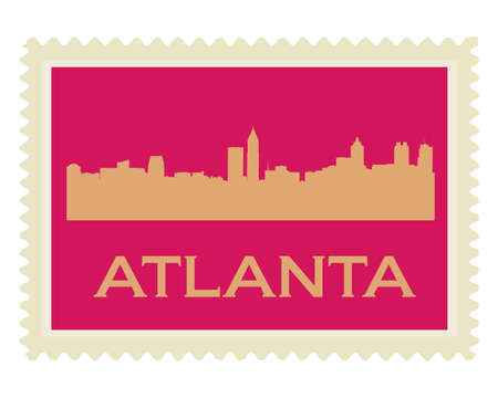 Atlanta high-rise buildings skyline stamp Vector