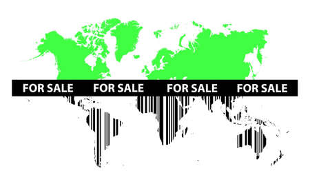 Green map of world changing in to barcode Çizim