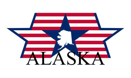 Alaska state map, flag, and name  Vector