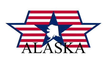kodiak: Mapa del Estado de Alaska, la bandera y el nombre