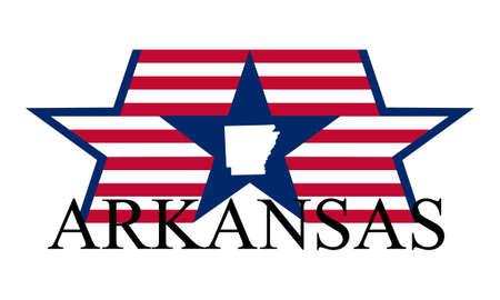 arkansas state map: Arkansas state map, flag, and name