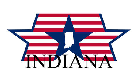 Indiana state map, flag, and name
