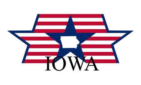 Iowa state map, flag, and name