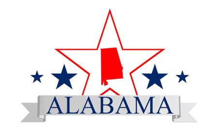 alabama: Alabama state map, star, and name
