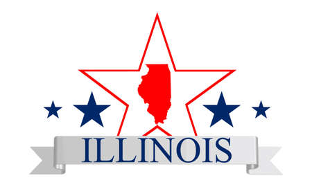 Illinois state map, frame and name