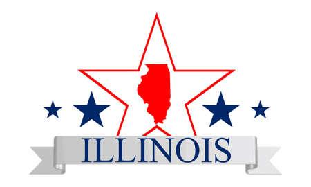 Illinois state map, frame en naam Stock Illustratie
