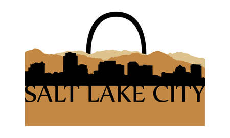 City of Salt Lake City high rise buildings skyline Vector