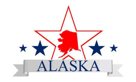 kodiak: Mapa del estado de Alaska, la estrella, y el nombre Vectores
