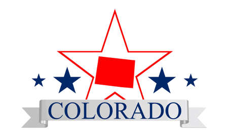colorado mountains: Colorado state map, star and name