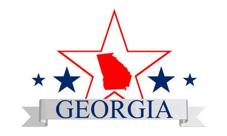 Georgia state map, star and name  Ilustracja