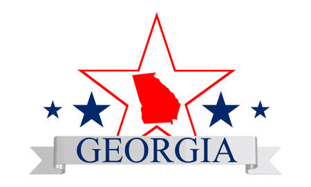 Georgia state map, star and name  Illustration