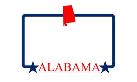 birmingham: Alabama state map, frame, and name