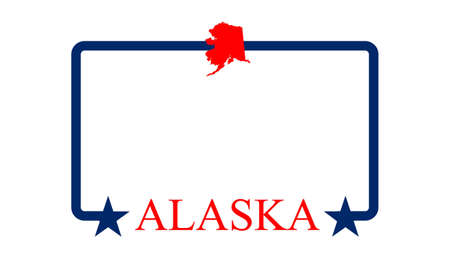 Alaska state map, frame, and name