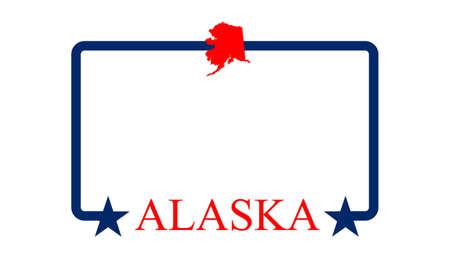 kodiak: Mapa del Estado de Alaska, marco, y el nombre