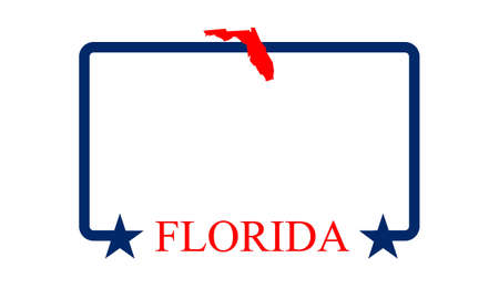 Florida state map, frame and name  Vector
