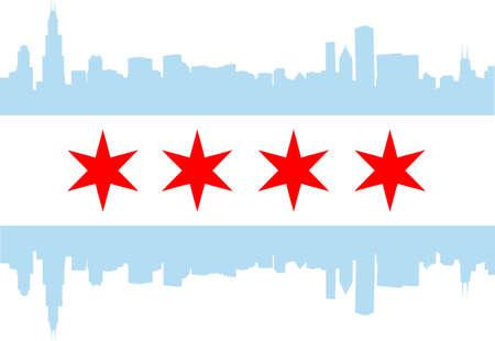 高層建築スカイラインとシカゴの市旗