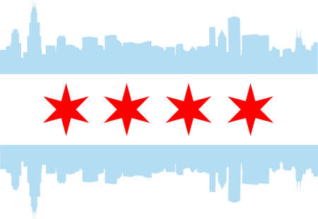 city skyline night: City of Chicago flag with high rise buildings skyline