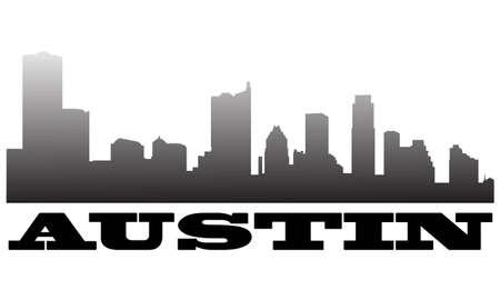 austin: City of Austin high rise buildings skyline Illustration