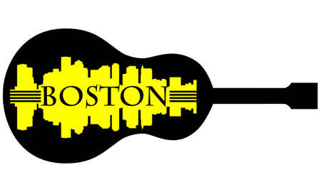 sports bar: City of Boston high-rise buildings skyline with guitar