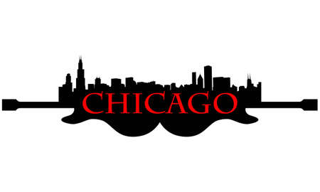 City of Chicago hoogbouw skyline met gitaar Stock Illustratie