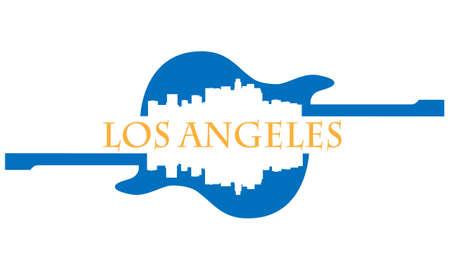 City of Los Angeles hoogbouw skyline met gitaar