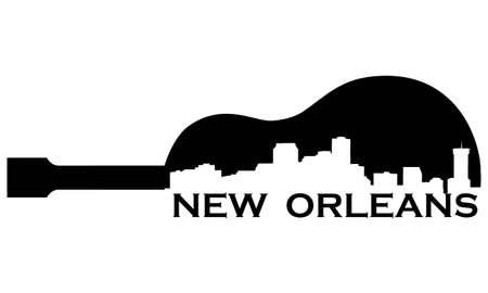 Stad van New Orleans hoogbouw skyline met gitaar
