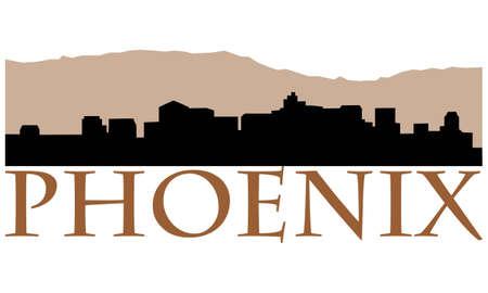 City of Phoenix high-rise buildings skyline Vector