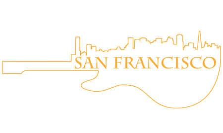 Città di San Francisco high-rise skyline di edifici con la chitarra Archivio Fotografico - 13626137