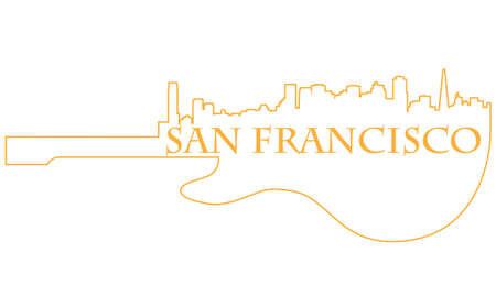 City of San Francisco high-rise buildings skyline with guitar Vector