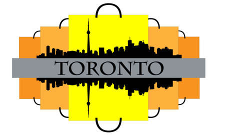 toronto: City of Toronto high rise buildings skyline with shopping bags Illustration