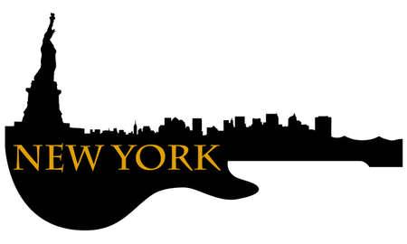 ギターとニューヨーク市の高層ビルのスカイライン  イラスト・ベクター素材