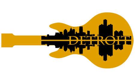 Stad van Detroit hoogbouw skyline