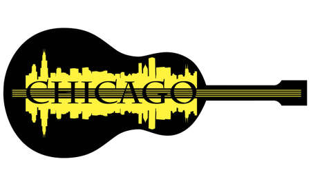 City of Chicago high-rise buildings skyline with guitar Stock Vector - 13696404