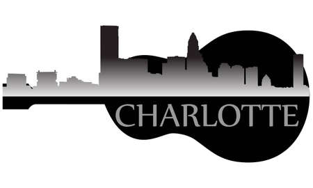 charlotte: City of Charlotte high-rise buildings skyline with guitar Illustration