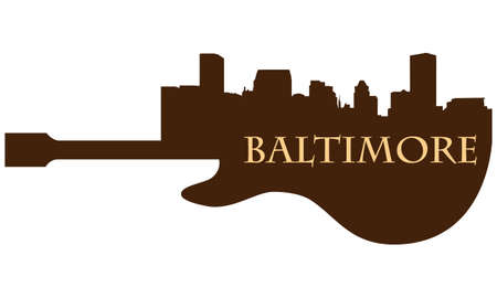 City of Baltimore high-rise buildings skyline with guitar Stock Vector - 13696397