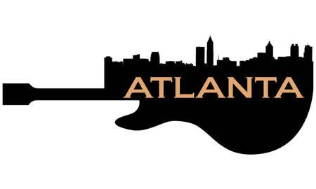 Atlanta high-rise buildings skyline with guitar