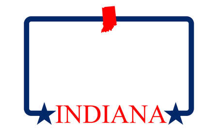 Indiana state map, frame and name  Vector