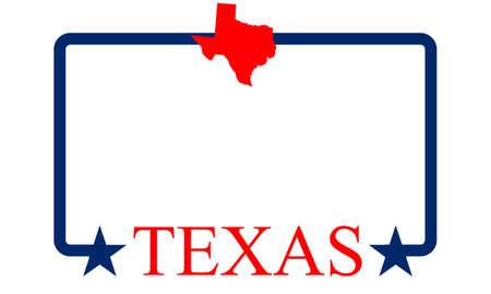 Texas State Map, frame en naam