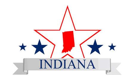 Indiana state map, star and name  Ilustração
