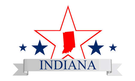 indianapolis: Indiana state map, star and name  Illustration