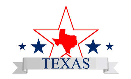 austin: Texas state map, star and name  Illustration