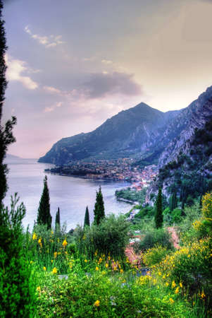 garda: View of Lake Garda and Town of Limone