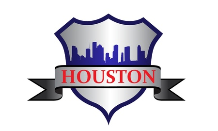 houston: City of Houston crest with high rise buildings skyline Illustration