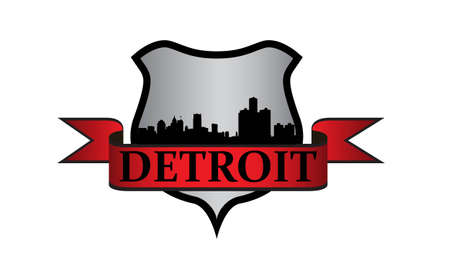 City of Detroit crest with high-rise buildings skyline Illustration