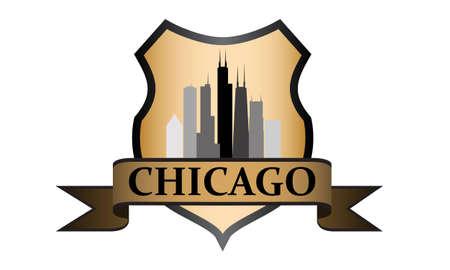 Stad van Chicago kam met hoogbouw skyline Stock Illustratie
