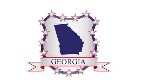 albany: Georgia crest with state map and stars