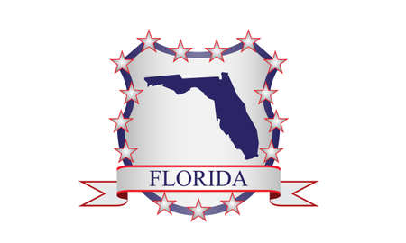 Florida crest with state map and stars Vector
